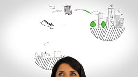 Colored animation showing global influences and a woman watching Stock Images