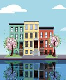 Colored apartment buildings on lake. Facades of buildings are reflected in mirror surface of water. Flat cartoon vector royalty free illustration