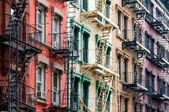 Colored Apartment Buildings in New York City Royalty Free Stock Photography