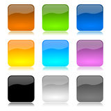 Colored app buttons set. Colored and glossy app buttons set with reflection on white background illustration Stock Images