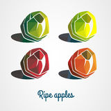Colored apples with triangles. Set of colored apples with triangles Stock Images