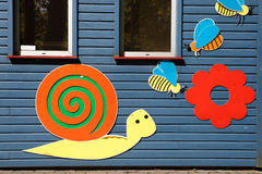 Colored applications. On the house in a Children's Park stock photography