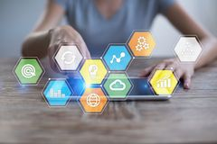 Free Colored Applications Icons And Graphs On Virtual Screen. Business, Internet And Technology Concept. Royalty Free Stock Photography - 113917117