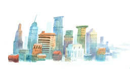 Colored aquarelle sketch of high buildings in New York, the USA. Cityscape  big modern city Royalty Free Stock Image