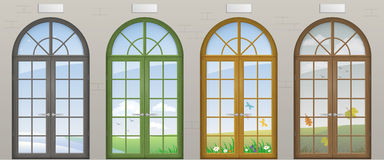 Colored arched doors. Entrance to the seasons of the year. Conceptual tourist center. Vector graphics Stock Images