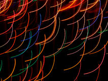 Colored Arcs. Time exposure photo of Christmas lights with camera movement - painting with light - original art Royalty Free Stock Photos