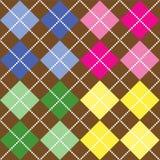 Colored Argyle Pattern. Background illustration of multi-colored argyle pattern on brown background Royalty Free Stock Image