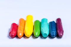 Colored array. Colored crayons facing viewer on white backdrop Royalty Free Stock Photos