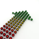 Colored arrow. High resolution render of colored chrome spheres forming the shape of an arrow pointing upwards. Very shallow depth of field with focus on the Stock Photos