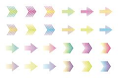 Colored arrow  elements. Halftone effect/ vector illustration