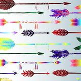 Colored arrows background, creative art vector. The pattern of colored arrows is a boho style. Beautiful art arrows Stock Photography
