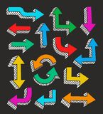 Colored arrows with 3D effect on a black background, vector. Royalty Free Stock Images