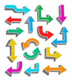 Colored arrows with 3D effect on a white background, vector. Stock Photography