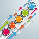 Colored Arrows Growth Circles 5 Steps Stock Images
