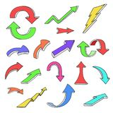 Colored arrows. Hand drawn doodles. Vector illustration isolated on white background Royalty Free Illustration