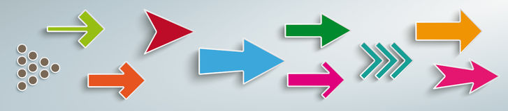 Colored Arrows Set Header. White arrows on the gray background Stock Image