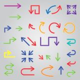 Colored arrows set. Large collection of icons. Vector illustration Vector Illustration