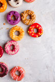 Colored assorted donuts with glaze Royalty Free Stock Image