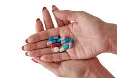Colored assorted pharmaceutical medicine pills, tablets and capsules. royalty free stock photos