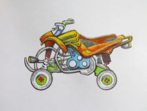 Colored ATV motorcycle. Drawing on paper vector illustration