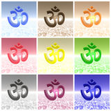 Colored aum / om collage Royalty Free Stock Images