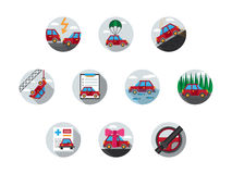 Colored auto insurance icons Royalty Free Stock Photos
