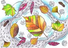 Free Colored Autumn Leaves Lie On Puddles. Children `s Drawing, Mixed Technique Royalty Free Stock Images - 164224469