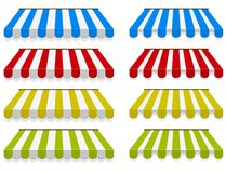 Colored awnings. Vector set. Two different types Royalty Free Stock Images