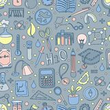 Colored Back to School Pattern with school elements and supplies. Welcome back to school seamless background in fun hand. Back to school pattern with school royalty free illustration