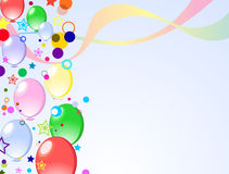 Colored background with balloons. Colored background with baloons and confetti Royalty Free Stock Photos
