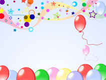 Colored background with balloons. Colored background with baloons and confetti Stock Photos