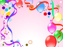 Colored background with balloons. Colored background with baloons and confetti Royalty Free Stock Photo