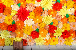 Colored background, flowers made of paper. Origami. Colored background, flowers made of paper Stock Images
