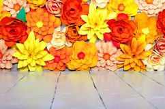 Colored background, flowers made of paper. Origami. Colored background, flowers made of paper Royalty Free Stock Photo