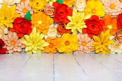 Colored background, flowers made of paper. Origami. Colored background, flowers made of paper Royalty Free Stock Photos