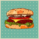 Colored background with a hamburger Royalty Free Stock Photography