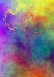 Colored background with hearts Stock Photo