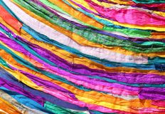 Colored background of many fabrics of cotton. And synthetic Stock Photo
