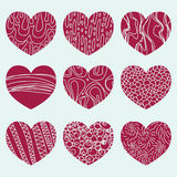 Colored background with nine hearts Royalty Free Stock Photography