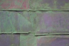 Colored background. old rusty green metal surface. texture of cracks Stock Photo