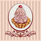 Colored background with pink cake Stock Photo