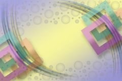 Colored background with square frames. And violet circles Royalty Free Stock Images