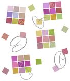 Colored background. Squares, calligraphic strokes Stock Photo