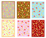 Colored backgrounds with hearts and flowers Stock Images
