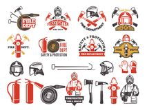 Colored badges for firefighter department. Symbols set of emergency protection isolated on white. Fire department and fireman, firefighter and extinguisher Royalty Free Stock Photo