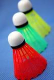 Colored badminton balls stock photo