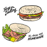 Colored Bagel Sandwich with handdrawn Type Royalty Free Stock Image