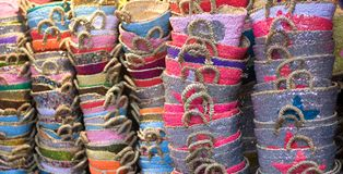 Colored bags. Craft colors and fragrances in the markets of the Orient Royalty Free Stock Photo