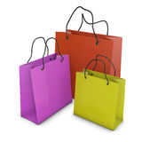 Colored bags. For shopping on a white background Stock Images
