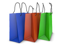 Colored bags. For shopping on a white background Stock Image